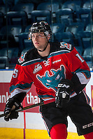 KELOWNA, CANADA - OCTOBER 14: Tomas Soustal #15 of Kelowna Rockets warms up against the Saskatoon Blades on October 14, 2016 at Prospera Place in Kelowna, British Columbia, Canada.  (Photo by Marissa Baecker/Shoot the Breeze)  *** Local Caption *** Tomas Soustal;