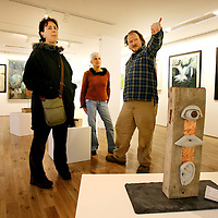 Jackie Askew,Christa Haller and Johnny Fergusson looking a some of the work on display at the Fetac Art Student's Exhibition at the Ennistymon Court House Gallery on Thurday .The Exhibition runs until 24th November.<br /><br />Photograph by Eamon Ward