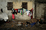 Philippines, Metro Manila. Laundry on the wall in Bicutan.