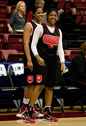 March 19, 2010; Stanford, CA, USA;  Rutgers Scarlet Knights forward/center Monique Oliver (44) laughs with teammates before the first round game of the 2010 NCAA Womens Division I Championship at Maples Pavilion.