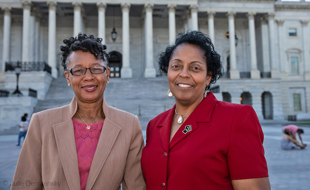 Sharon Lavinge and Barbara Washington outsdie of the State Capitol after attending the Congressional Convening on Environmental Justice.