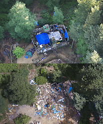 © Licensed to London News Pictures. 20/03/2017. Dorking, UK. This combination aerial photograph shows the remains of fort built by protestors before and after bailiffs dismantled it near Leith Hill. Workers are dismantling a protest fort built over an oil well site near Leith Hill in the North Downs . Protestors have been evicted from the camp over the last few days. Planning permission for 18 weeks of exploratory drilling was granted to Europa Oil and Gas in August 2015 after a four-year planning battle. The camp was set up by protestors in October 2016 in order to draw attention to plans to drill in this Area of Outstanding Natural Beauty (AONB) in the Surrey Hills. The camp has received support from the local community. Photo credit: Peter Macdiarmid/LNP