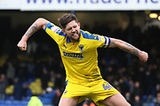 AFC Wimbledon midfielder Anthony Wordsworth (40) celebrating during the EFL Sky Bet League 1 match between Southend United and AFC Wimbledon at Roots Hall, Southend, England on 16 March 2019.