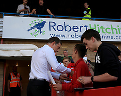 West Ham United manager Slaven Bilic signs autographs - Mandatory by-line: Paul Roberts/JMP - 23/08/2017 - FOOTBALL - LCI Rail Stadium - Cheltenham, England - Cheltenham Town v West Ham United - Carabao Cup
