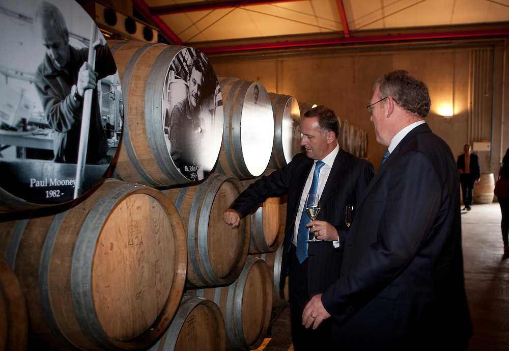 Prime Minister John Key  and CEO Peter Holley at the Mission Estate Winery in Napier to open their new building, Napier, New Zealand,02 February 2012, Photo: SNPA / John Cowpland