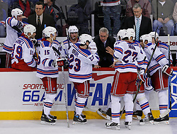 February 1, 2008; Newark, NJ, USA;  New York Rangers Coach Tom Renney gives advice to his team during the third period at the Prudential Center in Newark, NJ.  The Rangers defeated the Devils 3-1.