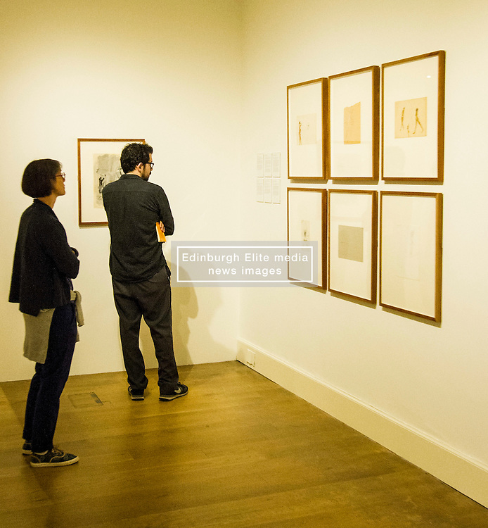 Pictured: Some of Joseph Beuys smaller drawings attracted a lot of attention. <br /> The Richard Demarco & Joseph Beuys A Unique Partnership exhibition examines the collaboration between the avant-garde gallerist and German post-war artist. The exhibition is open to the public between  30 July and 1 October 2016<br /> <br /> Ger Harley | EEm 28 July 2016