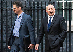 © Licensed to London News Pictures. 16/10/2019. London, UK. Steve Baker MP (L) and Ian Duncan Smith MP (R) arrive at 10 Downing Street. Photo credit: Rob Pinney/LNP