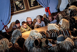 01.12.2016, Riedlhof, Lienz, AUT, Osttiroler Krampustage im Bild Mitglieder der Krampusgruppe NIKRAMO beim traditionellen Osttiroler Tischziachn // Members of the Krampusgroup NIKRAMO during the traditional Osttiroler table drawing. Krampus a mythical creature that, according to legend, accompanies Saint Nicholas during the festive season. Instead of giving gifts to good children, he punishes the bad ones, Lienz, Austria on 2016/12/01. EXPA Pictures © 2016, PhotoCredit: EXPA/ JFK
