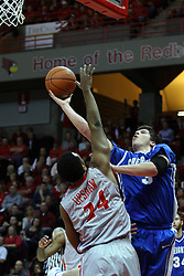 02 January 2013:  Doug McDermott reaches around Zeke Upshaw with his shot during an NCAA Missouri Vally Conference (MVC) mens basketball game between the Creighton University Bluejays and the Illinois State Redbirds in Redbird Arena, Normal IL