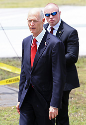 June 17, 2017 - Miami, FL, United States - No New York Dailies..June 16 2017, Miami..Florida Governor Rick Scott on the tarmac as President Donald Trump arrives at Miami International Airport prior to his event where he signed policy changes toward Cuba on June 16, 2017 in Miami, Florida...No New York Dailies  (Credit Image: © Solar/Ace Pictures via ZUMA Press)