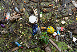 Detail of rubbish on surface of Water of Leith river at Leith after heavy rainfall, Scotland, UK