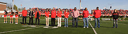 15 October 2011: Hall of Fame 2011 inductees are introduced during an NCAA football game between the University of South Dakota Coyotes and the Illinois State Redbirds (ISU) at Hancock Stadium in Normal Illinois.