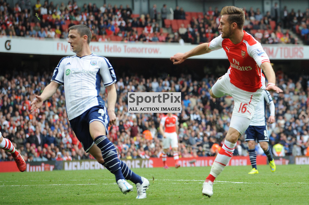 Arsenals Aaron Ramsey sees another shot hit the crossbar during the Arsenal v West Brom match on Sunday 24th May 2015