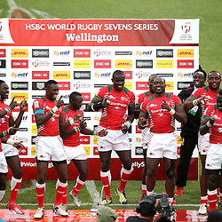 Challenge Cup winners Kenya celebrate during the 2017 HSBC World Sevens Series Wellington day two at Westpac Stadium in Wellington, New Zealand on Sunday, 29 January 2017. Photo: Martin Hunter / lintottphoto.co.nz