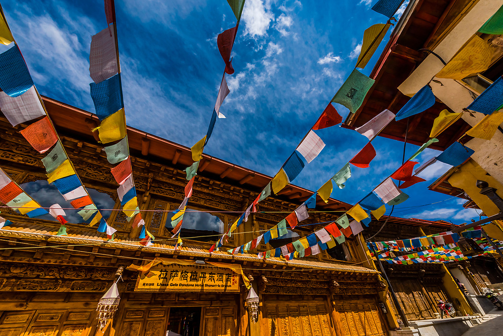 Prayer flags in the restored Old Town of Shangri La (Zhongdian), Yunnan Province, China.