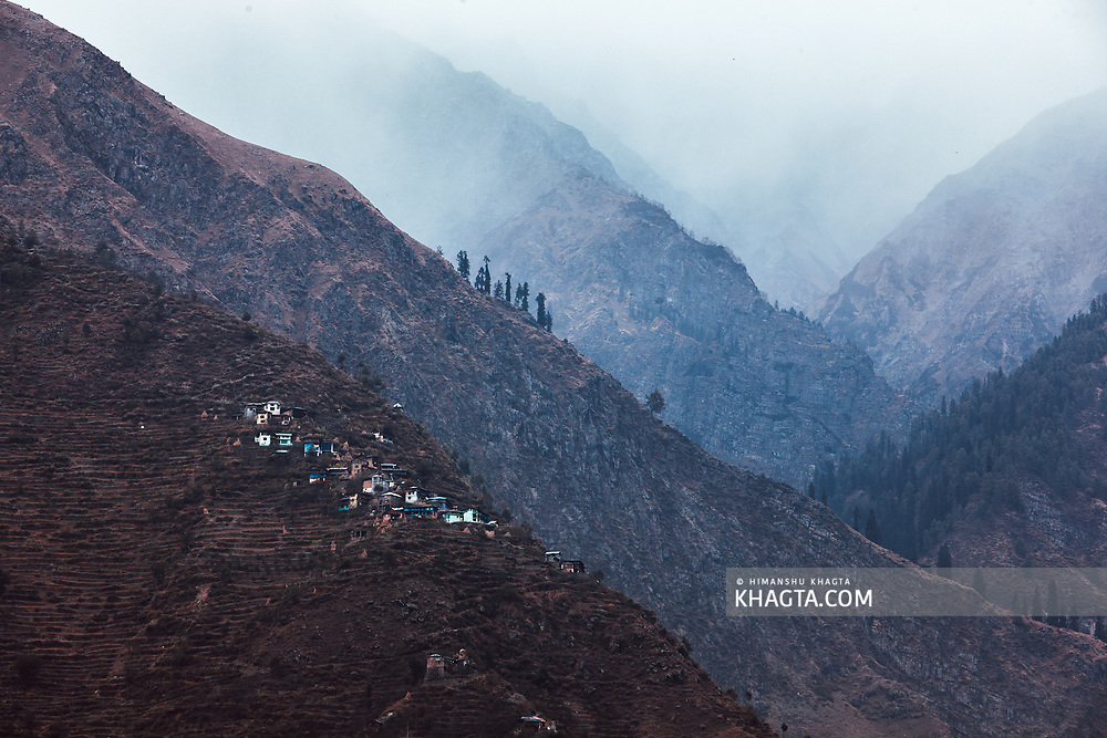 A village on top of a cliff in Bharmour, Chamba, Himachal Pradesh, India