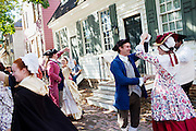 Williamsburg, VA - October 5, 2010: Actor-Interpretors dance during a scene in Colonial Williamsburg, Virginia on Tuesday, October 5, 2010.<br /> <br /> (Photo by Matt Eich/LUCEO for The Washington Post)