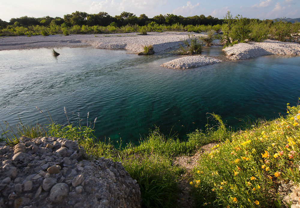 Swimming hole on the Nueces River in Texas with Spring wildflowers.