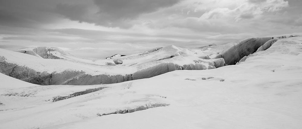 Dangerous deep crevasse fracture on Svinafellsjokull glacier an outlet glacier of Vatnajokull, South Iceland