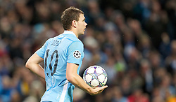 18.10.2011, City of Manchester Stadion, Manchester, ENG, UEFA CL, Gruppe A, Manchester City (ENG) vs FC Villarreal (ESP), im Bild Manchester City's Edin Dzeko celebrates his side's 1-1 goal against Villarreal CF// during UEFA Champions League group A match between Manchester City (ENG) and FC Villarreal (ESP) at City of Manchester Stadium, Manchaster, United Kingdom on 18/10/2011. EXPA Pictures © 2011, PhotoCredit: EXPA/ Propaganda Photo/ Vegard Grott +++++ ATTENTION - OUT OF ENGLAND/GBR+++++