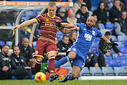 Birmingham City defender Emilio Nsue (2) makes a tackle on Queens Park Rangers defender Jake Bidwell (3) 0-0 during the EFL Sky Bet Championship match between Birmingham City and Queens Park Rangers at St Andrews, Birmingham, England on 18 February 2017. Photo by Alan Franklin.
