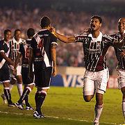Gum celebrates with team mate Leandro Euzebio (right) after scoring his sides first goal during the Fluminense FC V CR Vasco da Gama Futebol Brasileirao League match at the Maracana, Jornalista Mário Filho Stadium,  The match ended in a 2-2 draw. Rio de Janeiro,  Brazil. 22nd August 2010. Photo Tim Clayton.