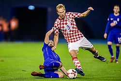 Ivan Strinic of Croatia and Giannis Maniatis of Greece during the football match between National teams of Croatia and Greece in First leg of Playoff Round of European Qualifiers for the FIFA World Cup Russia 2018, on November 9, 2017 in Stadion Maksimir, Zagreb, Croatia. Photo by Ziga Zupan / Sportida