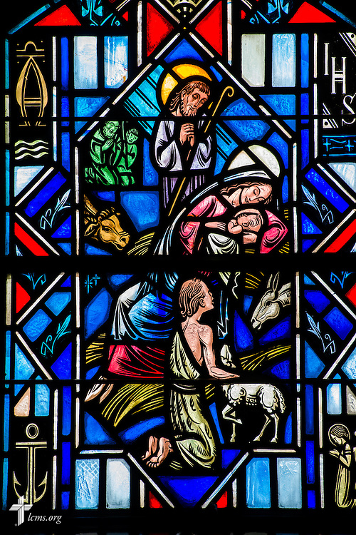 Stained glass depicting the birth of Jesus Christ at Luther Memorial Chapel on Friday, Jan. 29, 2016, in Shorewood, Wis. LCMS Communications/Erik M. Lunsford