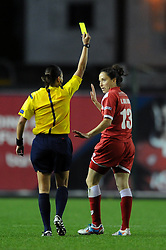 Bristol Academy Womens' Laura Del Rio Garcia is shown the yellow card - Photo mandatory by-line: Dougie Allward/JMP - Mobile: 07966 386802 - 13/11/2014 - SPORT - Football - Bristol - Ashton Gate - Bristol Academy Womens FC v FC Barcelona - Women's Champions League