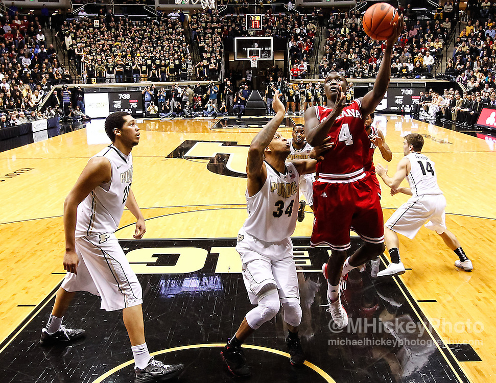WEST LAFAYETTE, IN - JANUARY 30: Victor Oladipo #4 of the Indiana Hoosiers shoots the ball against the Purdue Boilermakers at Mackey Arena on January 30, 2013 in West Lafayette, Indiana. Indiana defeated Purdue 97-60. (Photo by Michael Hickey/Getty Images) *** Local Caption *** Victor Oladipo
