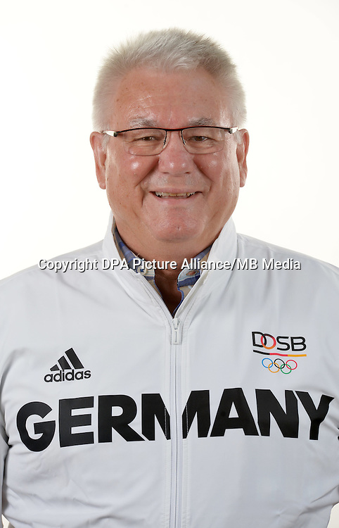 Manfred Werner poses at a photocall during the preparations for the Olympic Games in Rio at the Emmich Cambrai Barracks in Hanover, Germany. July 04, 2016. Photo credit: Frank May/ picture alliance. | usage worldwide
