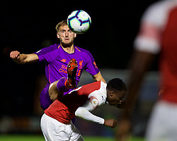 LONDON, ENGLAND - Friday, August 17, 2018: Liverpool's Nathaniel Phillips and Arsenal's James Olayinka during the Under-23 FA Premier League 2 Division 1 match between Arsenal FC and Liverpool FC at Meadow Park. (Pic by David Rawcliffe/Propaganda)