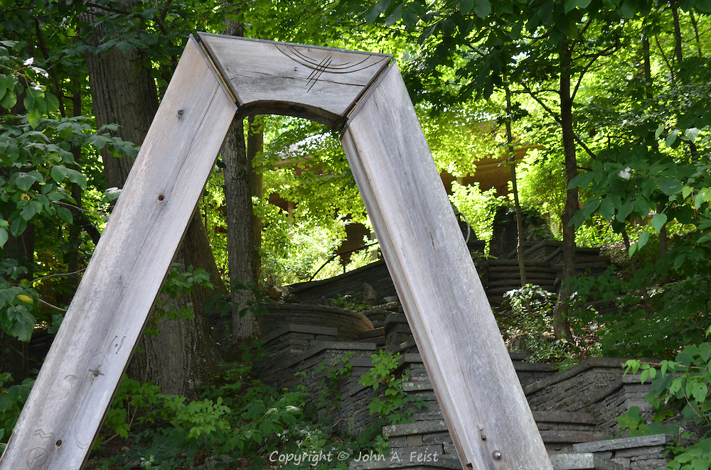 A rustic wooden arch welcoming all to the meditation temple at Omega Institute, Rhinebeck, NY