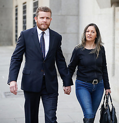 © Licensed to London News Pictures. 11/04/2017. London, UK. ADAM HUTCHESON (left), Gordon Ramsay's brother-in-law, arrives at the Old Bailey - where he and three of his family members are accused of hacking the celebrity chef's computer. Photo credit: Peter Macdiarmid/LNP