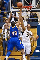December 29, 2009; Berkeley, CA, USA;  UC Santa Barbara Gauchos guard Orlando Johnson (33) shoots over California Golden Bears forward Jamal Boykin (10) during the second half at Haas Pavilion.  California defeated UC Santa Barbara 87-66.