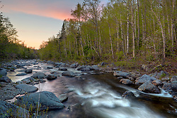 Dusk on the South Branch of the Carrabasset River in Stratton, Maine.  Appalachian Trail.