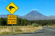 Oceania, New Zealand, Aotearoa, North Island, Tongariro National Park, Kiwi sign and Highway