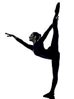 woman exercising Natarajasana dancer pose yoga silhouette shadow white background
