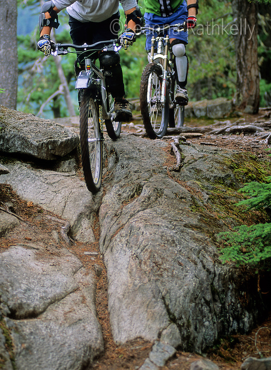 Mountain bikers on Cut Yer Bars trail, Whistler BC