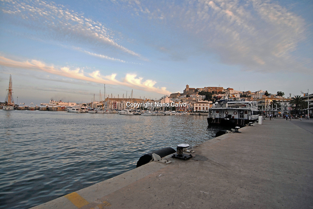 View of the port of Ibiza, with the castle at the end. The fortifications of the city of Ibiza, traditionally called Dalt Vila (Upper Town), were declared in 1999 World heritage site by Unesco. Travel Images Ibiza, Balearic Islands, Spain