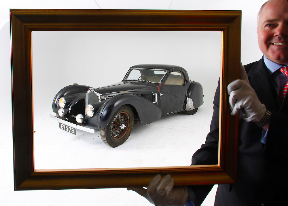 James Knight of Bonhams with a rare 1937 Bugatti Type 57S which will go to auction at Bonhams Retromobile sale in Paris with an estimated guide price of £2.75 to 4 million.