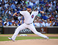June 19, 2017 - Chicago, IL, USA - Chicago Cubs starting pitcher Jon Lester (34) delivers a pitch against the San Diego Padres during the first inning on Monday, June 19, 2017 at Wrigley Field in Chicago, Ill. (Credit Image: © Nuccio Dinuzzo/TNS via ZUMA Wire)