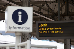 © Licensed to London News Pictures . FILE PICTURE DATED 26/02/2015 of a departure board for Leeds on the platform at Sheffield Train station as the government has today ( 25th June 2015 ) announced the cancellation of several major rail upgrade across the north of England . Photo credit : Joel Goodman/LNP