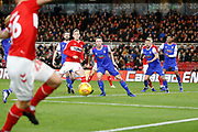 Middlesbrough midfielder George Saville (22) attacks a cross during the EFL Sky Bet Championship match between Middlesbrough and Ipswich Town at the Riverside Stadium, Middlesbrough, England on 29 December 2018.