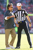 11 November 2012: Head coach Jeff Fisher of the St. Louis Rams speaks to NFL Referee Clete Blakeman while coaching against the San Francisco 49ers during the first half of a 24-24 tie between the 49ers and the Rams in an NFL football game at Candlestick Park in San Francisco, CA.