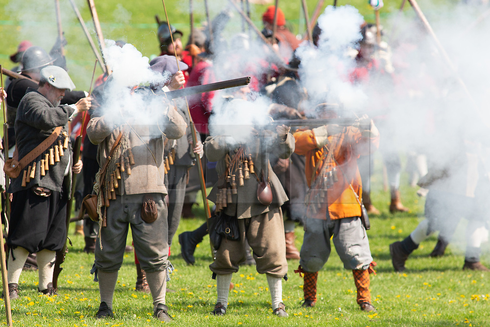 © Licensed to London News Pictures. 07/05/2018. Newark, Nottinghamshire, UK. ‌Over 300 civil war re-enactors descended on Newark during the early May Bank Holiday as the clock is turned back to the turbulent mid-17th century.<br /> The 4th Annual Pikes and Plunder Civil War Festival took place Monday 7th May with over a dozen regiments taking part alongside two artillery companies, a baggage train and scores of living history exponents making the 2018 Festival an even bigger spectacle than before.  Photo credit: Dave Warren/LNP