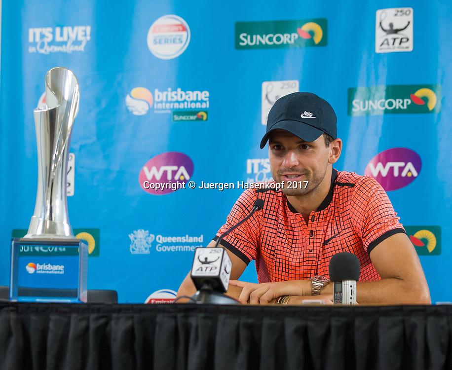 GRIGOR DIMITROV (BUL), Pressekonferenz, Portrait.<br /> <br /> Tennis - Brisbane International  2017 - ATP -  Pat Rafter Arena - Brisbane - QLD - Australia  - 8 January 2017. <br /> &copy; Juergen Hasenkopf
