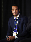 Curaçao coach Remko Bicentini (CUY)during CONCACAF Gold Cup groups unveiling news conference, Wednesday, April 10, 201 , in Los Angeles.
