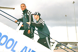 LIVERPOOL, ENGLAND - Monday, September 11, 1995: Liverpool's Stan Collymore and Steve McManaman board the Aeroflot Tupolev Tu-154 RA-85715 aircraft at Liverpool Airport before the squad travel to Russia ahead of the UEFA Cup 1st Round 1st Leg match against FC Alania Spartak Vladikavkaz. (Photo by David Rawcliffe/Propaganda)